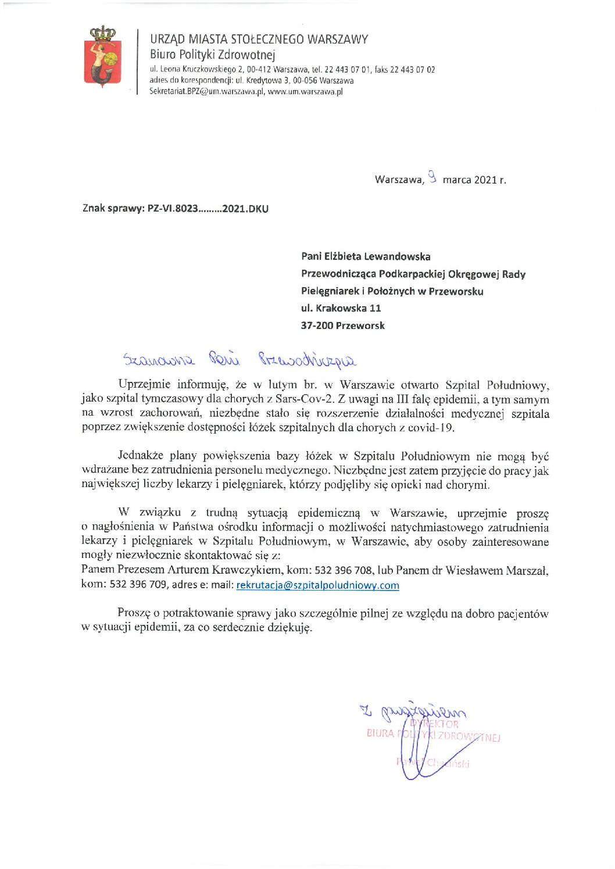 Zatrudnienie lekarzy i pielęgniarek w Szpitalu Południowym w Warszawie